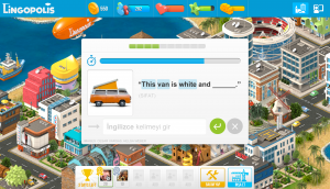 The 'aim of the game' in Lingopolis is to create a city; learning vocabulary items is a step towards achieving this goal.