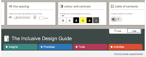 "A screenshot from guide.inclusivedesign.ca  It shows some of the options that are revealed when a user clicks ""show display references"".   The screenshot shows how the user can choose how the content is displayed. They have the following options:  1. line spacing 2. colour and contrast 3. table of contents"